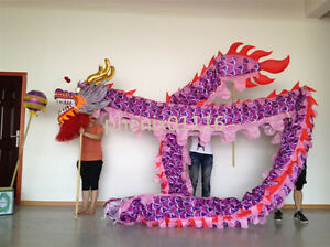 Chinese DRAGON DANCE ORIGINAL Dragon Festival Parade Costume 7m 6 student props