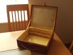 Vintage Art Deco Brown Leather Travelling Vanity Case By Harris Leathergoods Ltd