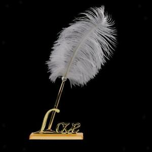 Stunning Signing Pen Rose Flower Feather Love Holder Wedding Gifts