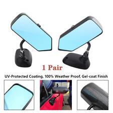 2X Carbon Fiber Car Side Blue Rearview Mirror Metal Bracket Anti-glare Universal