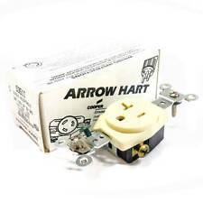 5351I Arrow Hart Single Receptacle, 20 A, 125 V, 2P, 3W, GRD, Nema:5-20R, Ivory