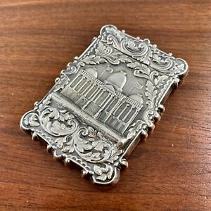 AMERICAN COIN SILVER HIGH RELIEF CARD CASE UNITED STATES CAPITOL NO MONO 1850S