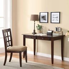 Home Office Writing Study Computer Wood Table Desk 2 Drawers Chair Cherry Finish