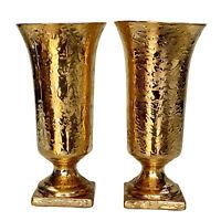 Vintage Hollywood Regency Porcelain Weeping Gold Flared Vases - A Pair