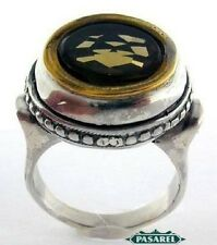 New 14k Yellow Gold & Sterling Silver Smoky Quartz Ring
