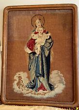 "Antique Religious Virgin Mary Jesus Needlepoint 25"" 19""framed Picture Art"
