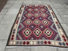 Kilim Vintage Traditional Hand Made Oriental Large Kilim Red Wool 242x163cm