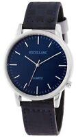 Excellanc Herrenuhr Blau Silber Analog Kunst-Leder Armbanduhr X-1900033-002