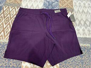 Gap Fit Women's Purple Elastic Waist Bermuda Shorts Size XL NWT