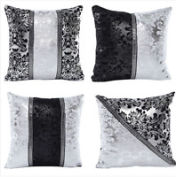 Vintage Luxury Black Silver Throw Pillow Case Cushion Cover Home Sofa Decorate