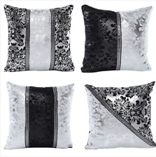 Bling Black Silver Waist Throw Pillow Case Cushion Cover Art Sofa Waist Decor AU