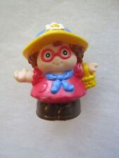 Fisher Price Little People MAGGIE Ready for a PARTY! in red dress w/ hat, basket