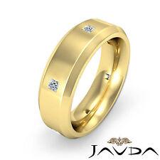6.5mm Mens Wedding Band Princess Diamond Eternity Ring 14k Yellow Gold 0.25Ct