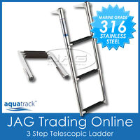 316 STAINLESS STEEL 3-STEP TELESCOPIC BOAT LADDER- MARINE GRADE TRANSOM BOARDING