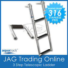 AQUATRACK 316 MARINE GRADE STAINLESS STEEL 3-STEP TELESCOPIC BOAT TRANSOM LADDER
