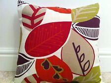 """One New Funky Fabric Leaf Pattern Red,Lime,Cream Scatter Cushion Covers 16"""""""
