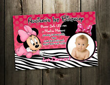 MINNIE MOUSE ZEBRA BIRTHDAY PARTY INVITATION PHOTO baby shower 1st INVITE - C2