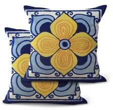 Us Seller, 2Pcs Mexican talavera flowers throw pillow covers 18x18