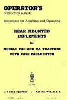 Case VAC VA Rear Mounted Implements Operators Manual