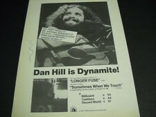 DAN HILL is dynamite with LONGER FUSE original 1977 Promo Display Ad