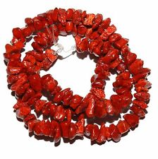 CRL137f Dark Red Sponge Coral Small (6-12mm) Gemstone Chip Beads 15""