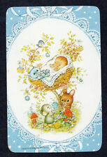 #800.1725 Blank Back Swap Cards -MINT- Baby in tree, blue cameo frame