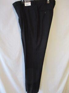 Caravelli Polyester 40 W Black Unfinished Hem FLAT  Front Dress Pants NEW w/Tag