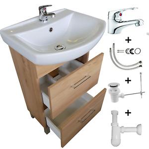 Badmöbel Armatur Waschtisch Waschbecken mit Unterschrank Schubladen Badarmatur