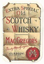 1934 Mac Gregor's Old Scotch Whiskey Label - Glasgow, Scotland