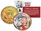MARILYN MONROE * Americana * Colorized JFK Half Dollar U.S. Coin 24K Gold Plated