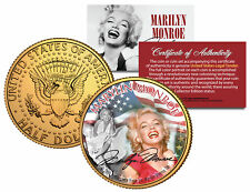 MARILYN MONROE * Americana * Colorized JFK Half Dollar U.S. Coin 24K Gold Plated