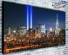 New York Lights in the Sky Panoramic Canvas Print XXL 4.5 ft wide x 2 ft high