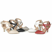 Journee Collection Womens Matte Pointed Toe Ankle Strap D'Orsay Pumps New