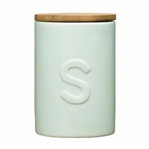 Fenwick Sugar Canister, Pale Blue Dolomite, Bamboo Lid