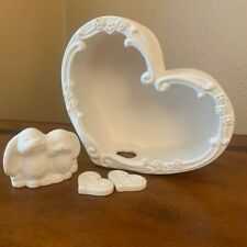 1 Ceramic Heart Box, 1 Bunny Pair and 2 heart charms - Ready to Paint