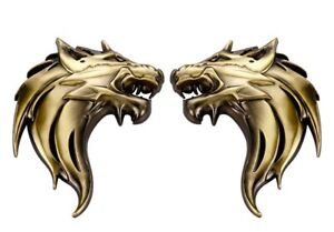 Pair 3D Quality Metal Wolf Head Badge Decals CAR Motorcycle Stickers - Bronze