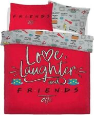 Love Laughter Friends TV Series Reversible Red Grey Double Duvet Cover Set