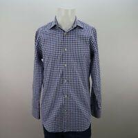 Banana Republic Blue Long Sleeve Non-Iron Slim Fit Gingham Check Shirt Mens M