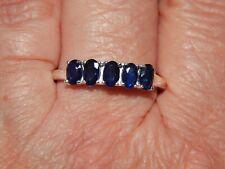 KANCHANABURI BLUE SAPPHIRE 5 STONE RING-SIZE UK P-1.500CTS