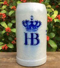 VINTAGE HB BEER STEIN 1 LITRE STONEWARE HOFBRAUHAUS SALT GLAZE GERMAN