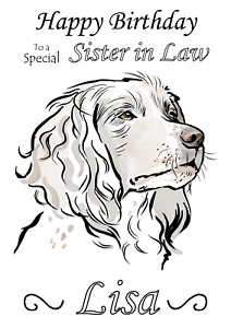 Spaniel Cute Dog Drawing personalised A5 birthday card - any NAME AGE RELATION