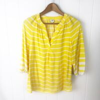 Crown & Ivy Womens S Small Popover Top Yellow White Stripe Blouse X12