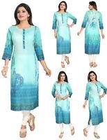 UK STOCK -Women Fashion Indian Kurti Tunic Kurta Top Shirt Dress SC1106 SeaGreen