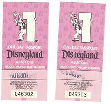 Two Vintage Disneyland One Day Passport 30 August 1990
