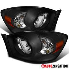 For 2006-2008 Dodge Ram 1500 Pair Black Lens Headlights Head Lamps+Amber