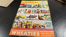 Wheaties Lone Ranger Mystery No 6 Cardboard Panel