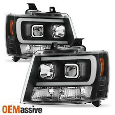 2007-2014 Chevy Suburban | Tahoe | Avalanche Black LED DRL Projector Head Lights