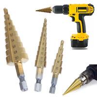 3pcs HSS Steel Step Cone Drill Titanium Bits Set Hole Cutter 3-12/4-12/4-20mm HL