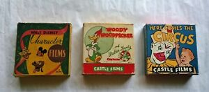 (3) 16mm Film / Movies w/ORIGINAL BOXES - MICKEY MOUSE, WOODY WOODPECKER, CIRCUS