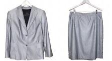 Vintage Akris Women Skirt Suit Set Blazer Cashmere Silk Pinstripe XL Switzerland